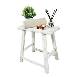 Traditional Rectangular Milking Stool - Antique - Decorative Table/seat In White
