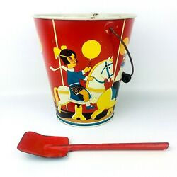 Vintage Wolverine Toy Tin Litho Sand Bucket Pail And Shovel Merry Go Round A1