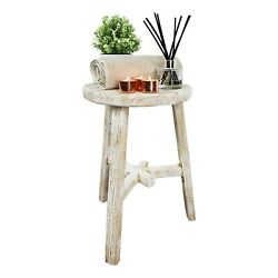 Traditional Circular Milking Stool - Antique - Decorative Table/seat In White
