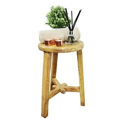 Traditional Circular Milking Stool - Antique - Rustic - Varnished