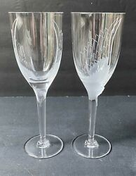 Pair of Vintage Lalique quot;Angequot; Angel Form Champagned Flutes