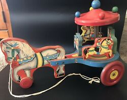 Vintage N.n. Hill Brass Co Horse Carousel Merry Go Round Pull Toy - Works