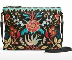 💕 JOHNNY WAS ARIEL FLORAL EMBROIDERED BLACK CROSSBODY PURSE NEW BEAUTIFUL $159.99