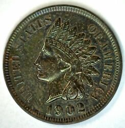 1902 Indian Head United States Penny Toned 1c Us Coin One Cent Uncirculated