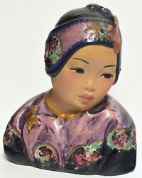 Authentic Antique Esther Hunt Lotus Bud 1921 Polychrome Chalkware Bust
