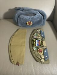 Authentic Russian Ushanka Gray Military Hat W/ Soviet Red Army Lot Of 3 Hats