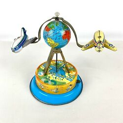 Vintage Wind Up Tin Toy Globe Airplanes Travel Plane Earth Pilot Aviation Works