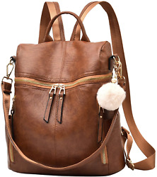 Backpack Purse for Women Large Capacity Multipurpose Travel Bag Leather Backpack $32.83