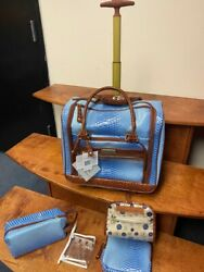 Samantha Brown Rolling Ombre Underseat With Accessories Periwinkle Carry On