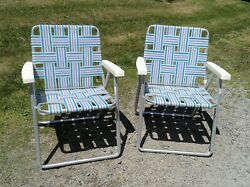 Pair Vintage Aluminum Webbed Folding Lawn Chairs Blue And White