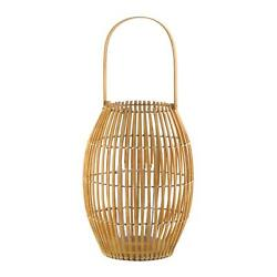 Brown Iron Glass Large Natural Wooden Finish Bamboo Candle Lantern Home Décor