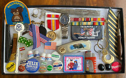 Vintage Junk Drawer Lot Political Pins Buttons Watches Pocket Knives Military