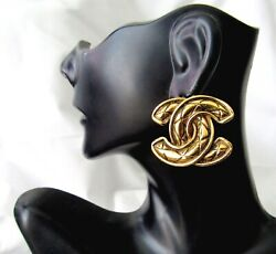 Vtg Cc Logo Quilted Clip Earrings Authentic Made In France Make An Offer
