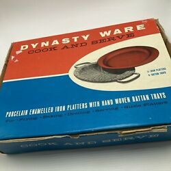 Dynasty Ware Cook And Serve Porcelain Enamel Iron Platters Rattan Trays Red Plates