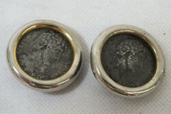 Vintage 1990s Ciner Roman Greek Coin Earrings Costume Jewelry Gold Tone Silver