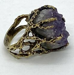 Vintage Sterling Silver Crow Clow Natural Raw Amethyst Statement Ring Sz8.25 17g