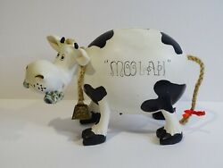 Vtg. Moolah The Cow Coin Money Piggy Bank And Real Cow Bell