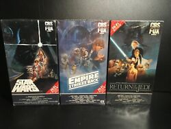 Star Wars Trilogy Vhs, 1984 Partly Sealed Red Label Tapes Cbs Fox - Watermarks