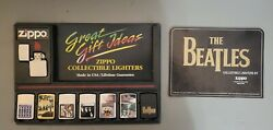 Very Rare The Beatles Zippo Lighter Set. 8 Beatles Lighters With Display Board