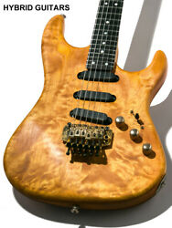 Used Valley Arts M Series St Type Quilt Natural Electric Gguitar With Hard Case