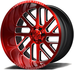 22x12 Axe 2.2 Compression Forged Red Brushed Wheels 6x5.5 Chevy 6x135 Ford
