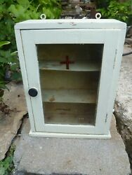 Antique Vintage Red Cross Woodandglass Medicine Cabinet Apothecary Wall Chest