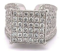 Dainty Big Ring 14k Solid White Gold All Round Brilliant Cut Diamond Face