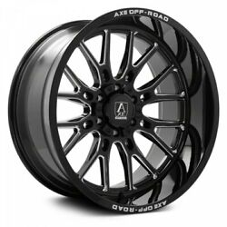 4 New 22x10 Axe Off Road Atlas Black Milled Wheels 8x6.5 Dodge Chevy 8x165.1