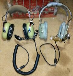 H10-76 And Vintage H-158/aic Us Military Aviation Headsetsuntested Pre-owned