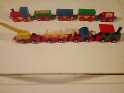Toy Trains 2 Sets, Mini Magnet Toys, Imported Western Germany, Vintage Rare