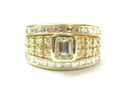 Emerald Round And Square Diamond Ring Bezel Set 18kt Yellow Gold 2.00ct