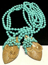 Miriam Haskell Early Lariat Necklace Rare Vintage Gilt Leaves Turquoise Glass
