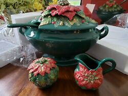 Fitz And Floyd Holiday Poinsettia Soup Tureen And Sugar And Creamer Nib