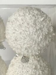 4 Large White Snowball Christmas Ornaments Shatterproof Winter