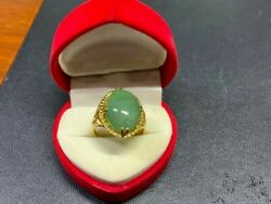 Natural Yellow Gold Vintage Jade Green 8.8 Grams Jewelry Magnificent Ring Size 9