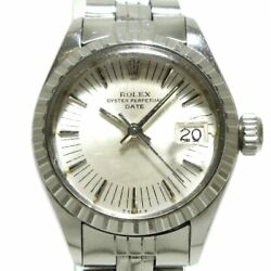 Auth Rolex Oyster Perpetual Date 6924 Silver Ss 3560722 Womens Wrist Watch