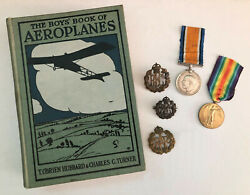 The Boysand039 Book Of Aeroplanes - Rfc Royal Flying Corps Cap Badge - Raf Ww1 Medals