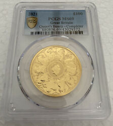 2021 U.k. 100 Pound 1 Oz Gold Queenand039s Beast Completer Coin Pcgs Ms69