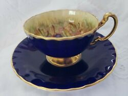 Beautiful Aynsley Cobalt Fruit Orchard Tea Cup And Saucer+cake Plate- Signed