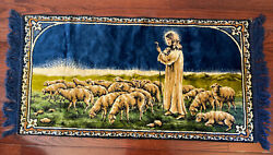 Vintage religious Tapestry Wall Hanging Decor Jesus Shepherd Sheep 38x19quot;
