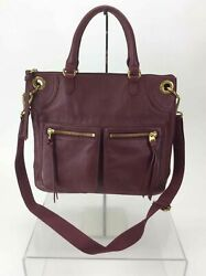 Fossil Burgundy Pebbled Leather Top Zip Crossbody