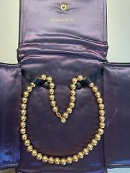 And Co. Vintage 14k Yellow Gold 9mm Bead Necklace