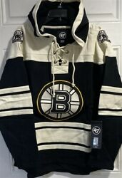 Boston Bruins Nhl '47 Brand Superior Lacer Men's Pullover Hoodie New