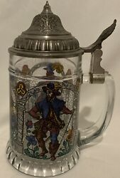 Vintage Smr Lidded Glass Beer Stein Made In West Germany - Excellent Condition