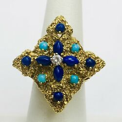Antique Victorian 18k Solid Yellow Gold Diamond Lapis Turquoise Cocktail Ring