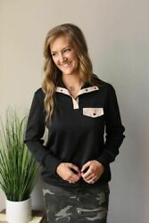 Black Quilt Quarter Button Sweatshirt Top Andbull S-2xl Plus Nwt Womenand039s Boutique Tops