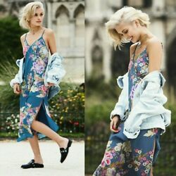Spell And The Gypsy Teal Blue Skies Floral Bird Print Midi Strappy Slip Dress S
