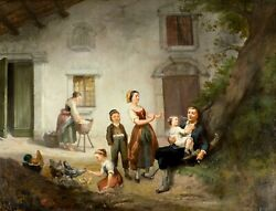 Philippe Delcour French,mid 19c Oil Painting Antique
