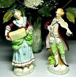 Set Of 2 1940s Vintage Occupied Japan Colonial Victorian Figurines 9   538