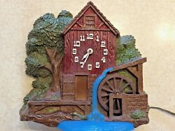 Vintage Spartus Windmill Water Wheel Mill House Clock Model No.6906